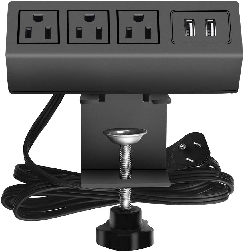 Desk Clamp Power Strip, Desktop Clamp Mount Power Outlet with 2 USB Ports, 3 AC Outlets, Mountable Desk Outlet Removable Power Plugs with 6.56ft Power Cord (3AC2USB-Black)