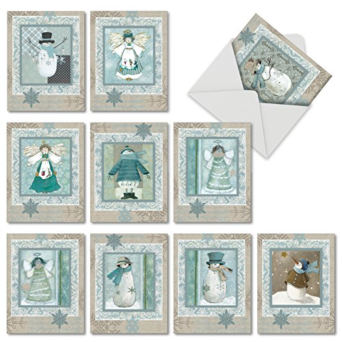 Boxed Set of 10 'Snow Angels' Blank Christmas Cards - Blank Cream and Teal Snowman Holiday Notes with Envelopes (Mini 4