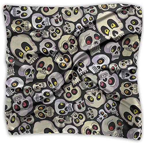 Halloween Skulls Womens Large Square Satin Head Bandanas Silk Like Neck Bandana ()