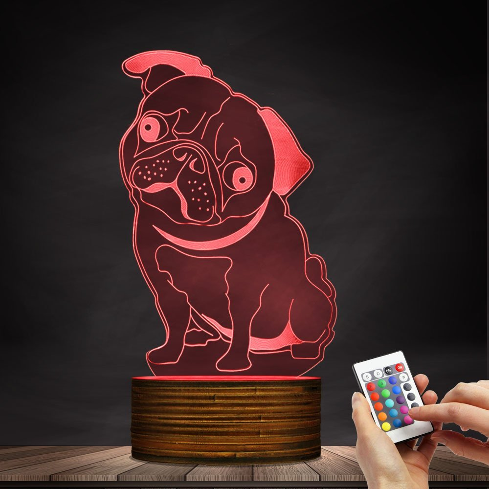French Bulldog LED Night Light Frenchie Dog 3D Decorative Lighting Color Changing Acrylic Lamp Gift for Dog Lovers