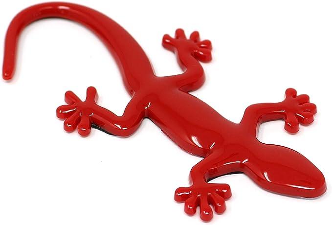 3d Emblem Gecko Mit Schaumstoff Kleberückseite Rot Hinterteil Gekrümmt Auto
