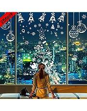 BESTZY Venstersticker voor Kerstmis, 256 Stuks, Raamstickers met Sneeuwvlokdecoraties voor Kerst, voor Ruit, Muur en Deur, Stickers voor Kerstfeest (8 Vellen)