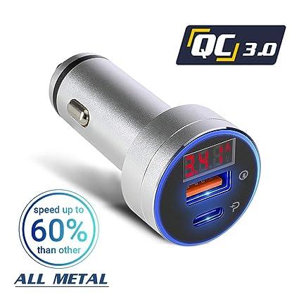 Amazon.com: Cargador de coche USB tipo C, adaptador de carga ...