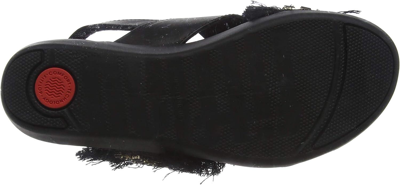 FitFlop Frey Adorn Layla Sandal, Sandalias de Punta Descubierta para Mujer Negro Black 001