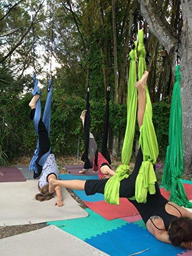 Price comparison product image Deluxe Aerial Yoga Hammock (Yoga Swing or Sling, Aerial Yoga) (Lemon Lime)