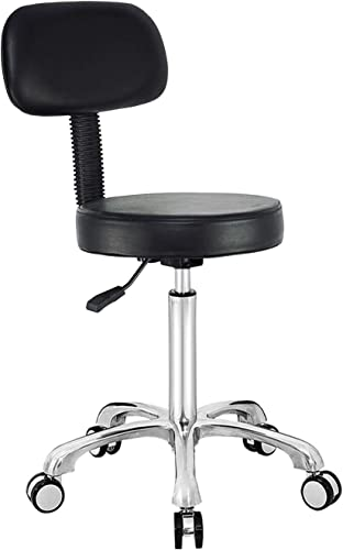 Antlu Rolling Stool Chair with Wheels and Back, Adjustable Drafting Stool Task Chair for Shop Kitchen Medical Pedicure Salon Black