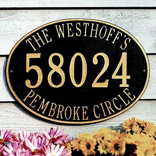Whitehall Products Hawthorne Estate Oval Black/Silver Wall 1-Line Address Plaque - Oval Estate Wall Plaque