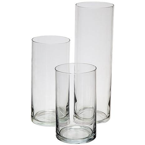Royal Imports Jarrón de cilindro de vidrio con eje central decorativo para boda o hogar Juego