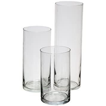 Royal Imports Jarrón de cilindro de vidrio con eje central decorativo para boda o hogar Juego de 3 sin velas Claro: Amazon.es: Hogar