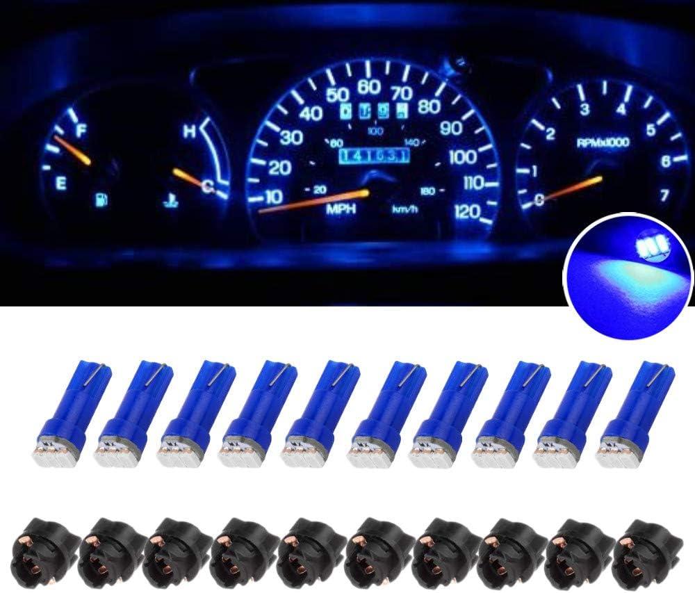 GUOORD 10 x T5 Dash Instrument Led Light Bulbs, 3-SMD Dashboard Instrument Panel Cluster Gauge Indicators Lamp Bulbs 12V w/Twist Socket (Blue)
