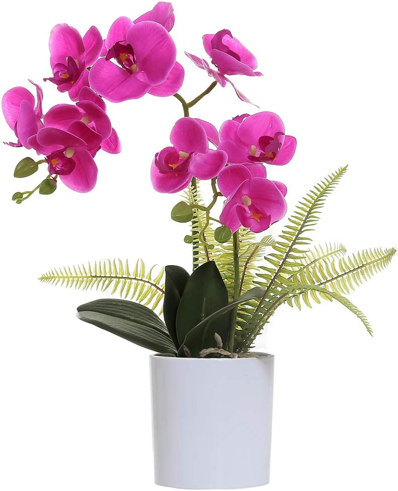 OMYGARDEN Artificial Orchids Flowers in White Pot, Fake Orchid Plants, Home Office Party Wedding Decorations(Purple 2 Bouquets)