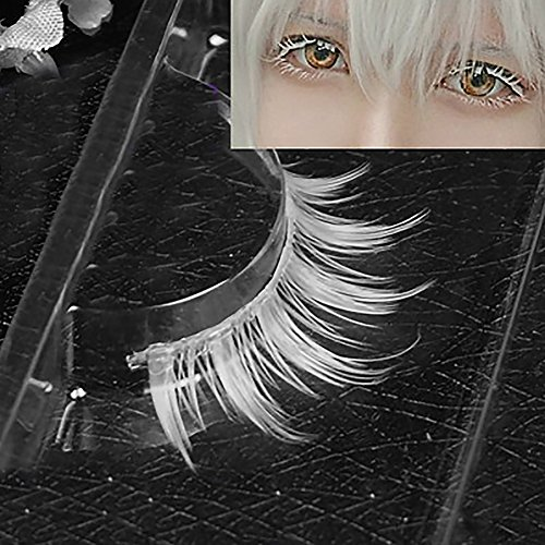 Cosplay Makeup Natural Looking Clear Root White Long Thick Cross False Eyelashes -