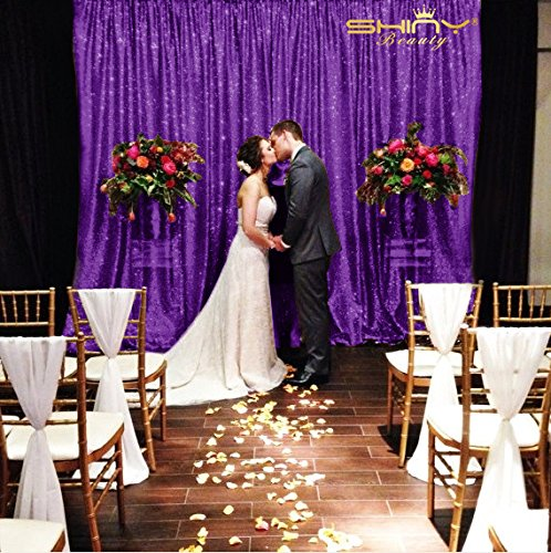 ShinyBeauty 10FTX20FT-Sequin Backdrop--Fabric Photo Booth Curtains, Elegance Curtains for Wedding/Window/Door Decor (Purple) by ShinyBeauty