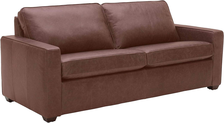 "Amazon Brand – Rivet Andrews Contemporary Top-Grain Leather Sofa, 82""W, Dark Brown"