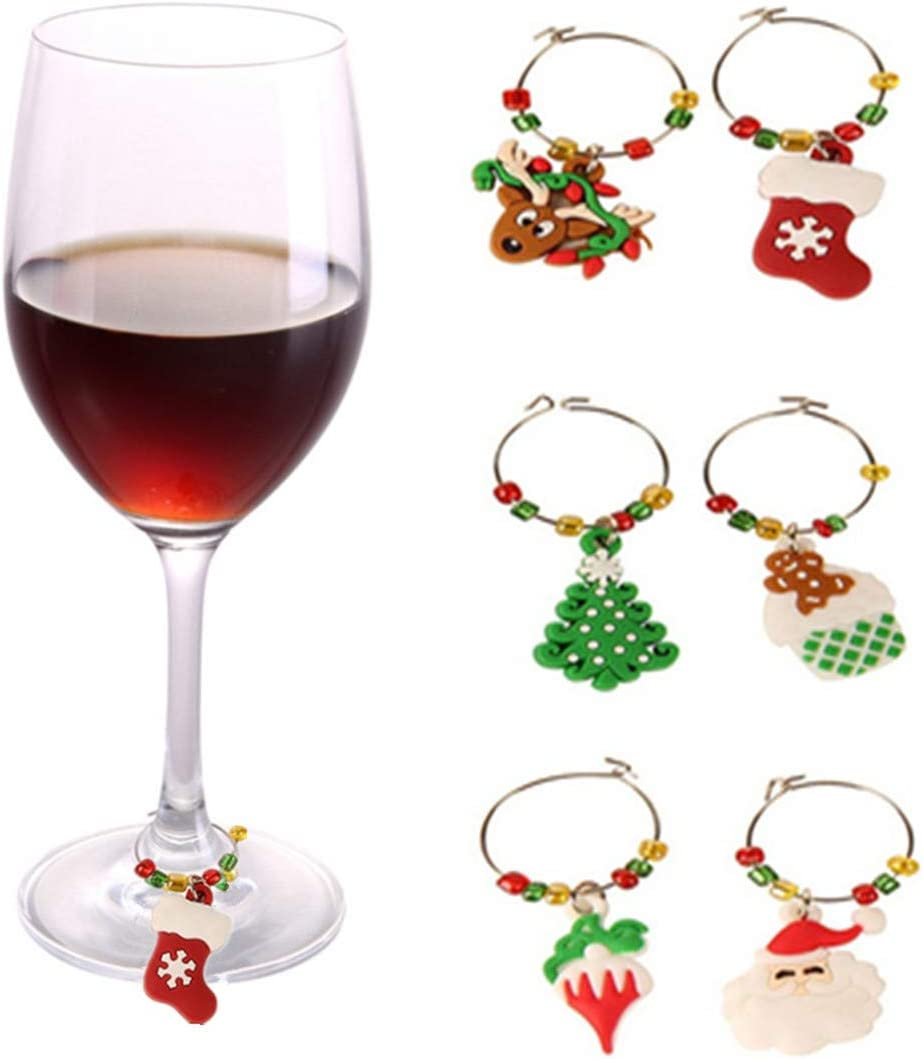 12PCS Wine Glass Charms Rings Marker Christmas Party Bar Table Decorations with 15g Christmas Confetti,Santa//Christmas tree//hat//stockings//snowflake etc Assorted Designs for Christmas Party