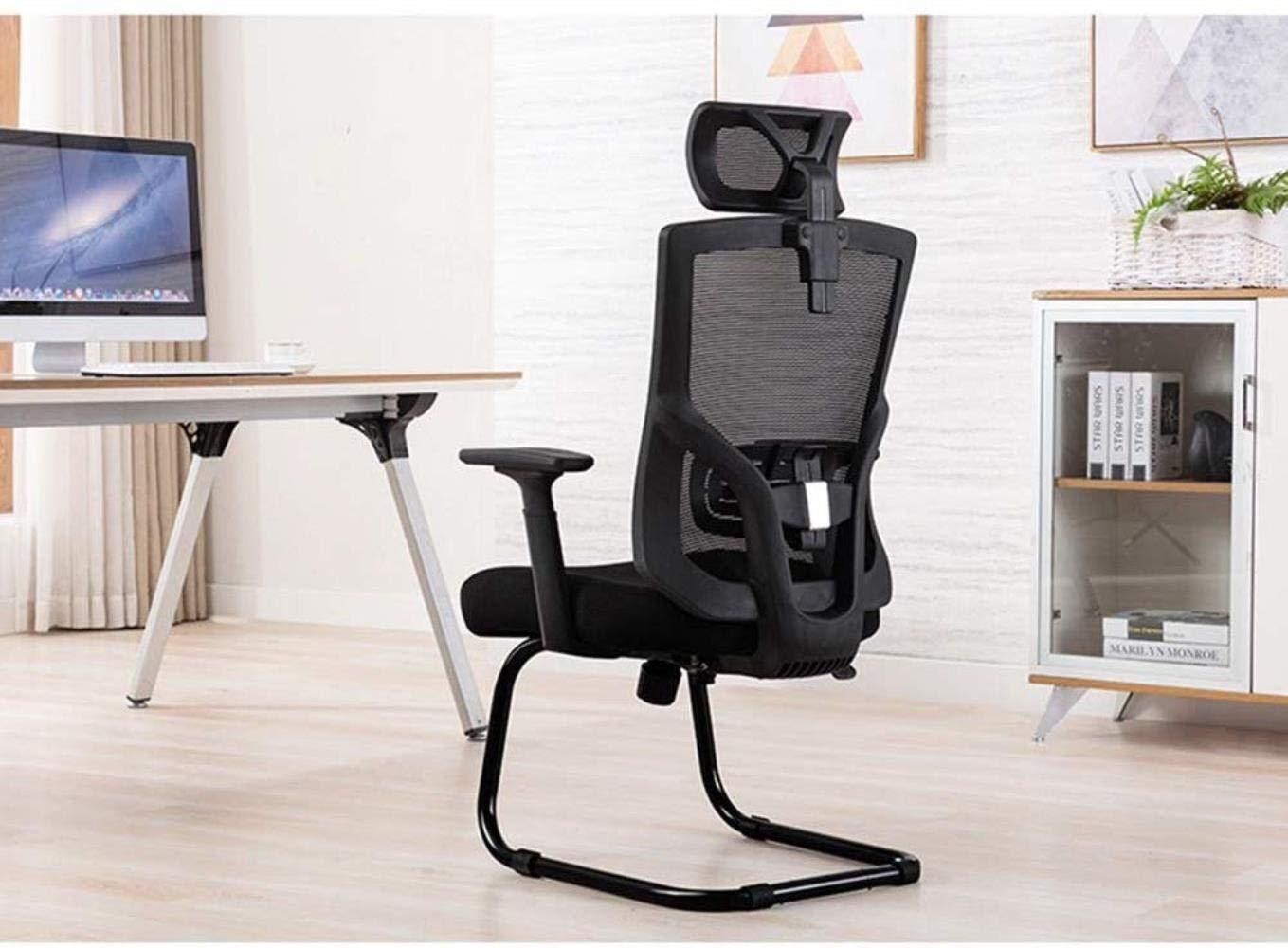 Xiuyun hem kontor skrivbordsstol justerbart nackstöd och ländrygg stöd hem spelstol böjd ledstång chef stol rosett fot design bärkapacitet 150 kg (färg: vit) Svart
