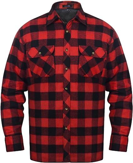 Fijo Night Hombre Camisa Señor Trabajo Camisa de Franela Camisa Cuadros de Estilo Leñador Franela Acolchado Camisa de Manga Larga Rojo y Negro Tamaño ...