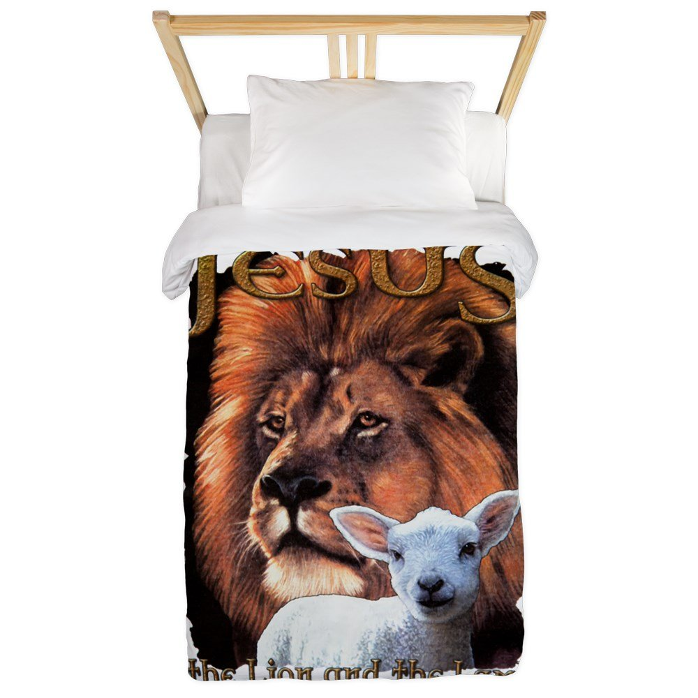Twin Duvet Cover Jesus The Lion And The Lamb by Royal Lion