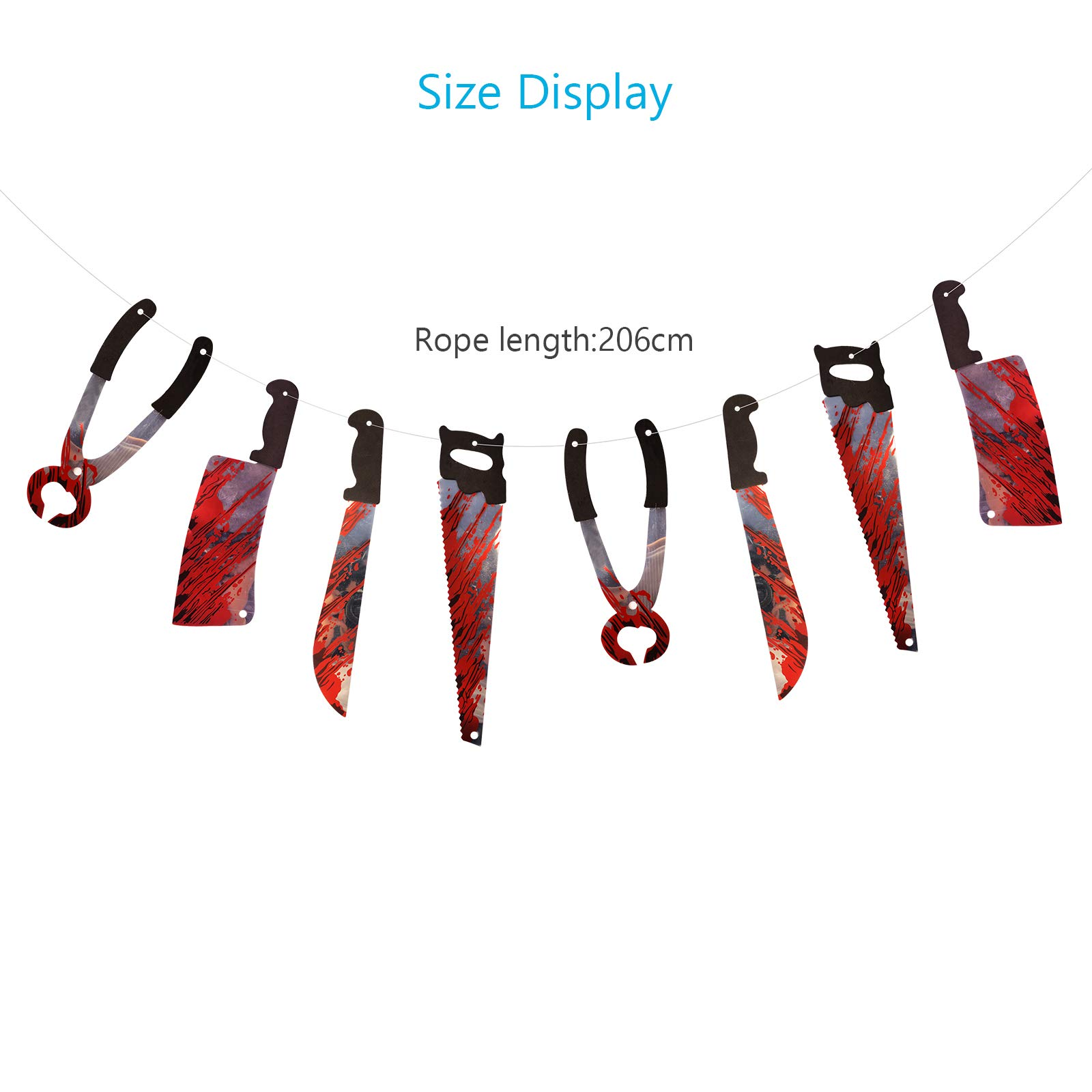 ZERHOK Bloody Weapon Garland, 2pack Halloween Hanging Decorations Fake Torture Blood Knives Banner Photo Props for Halloween Fright Night Haunted House Themed Party Decor