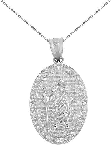 10K White Gold St Christopher Medal