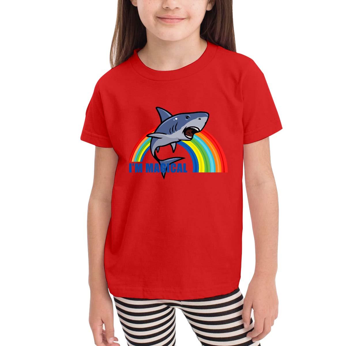 Magical Shark Toddler Kids Girls Boys Adorable T-Shirt Cotton Short Sleeve Graphic Tee 2-6 Years