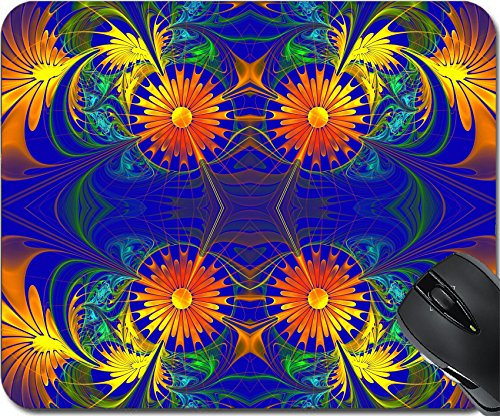 Price comparison product image MSD Natural Rubber Mousepad Mouse Pads/Mat design: 35316708 Flower pattern Orange and darkblue palette Fractal design Computer generated graphics