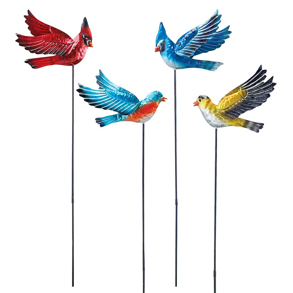 Collections Etc Bobbling Birds in Flight Decorative Lawn Ornament Garden Stakes, Set of 4