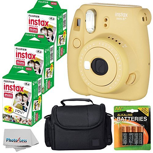 Fujifilm Instax Mini 8+ (Honey)Instant Film Camera W/ Self Shot Mirror + Fujifilm Instax Mini 3 Pack Instant Film(60 Shoots) + Case + Batteries Top Kit - International Version (No Warranty) by PHOTO4LESS
