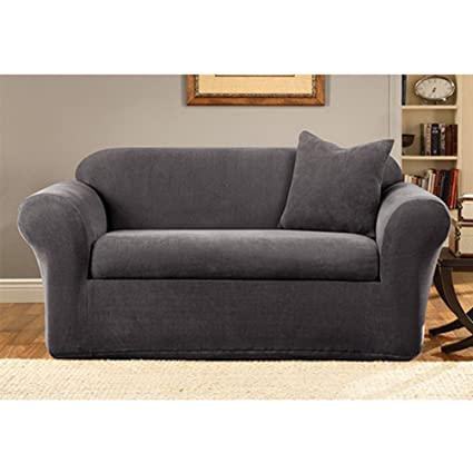 Merveilleux Sure Fit Stretch Metro 2 Piece   Sofa Slipcover   Gray (SF39413)