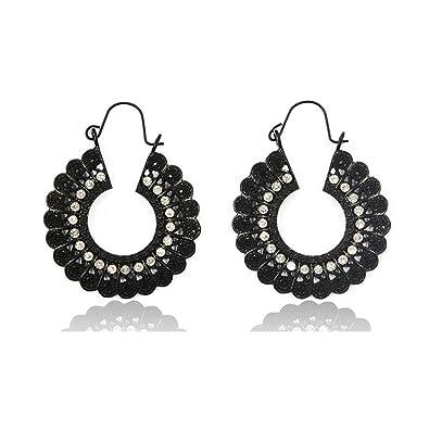 f437dff27 Indian Bollywood Beaded Hoop Earrings for Women - Gypsy Tribal Antique  Chandelier Circle Earrings (Black