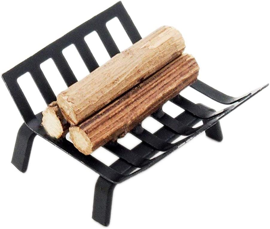 CuteExpress Miniature BBQ Grill Oven Model 1:12 Dollhouse Cooking Tool Garden Decoration Kicthen Accessories Roasting Cart Firewood Rack Holder (Wood-Rack)