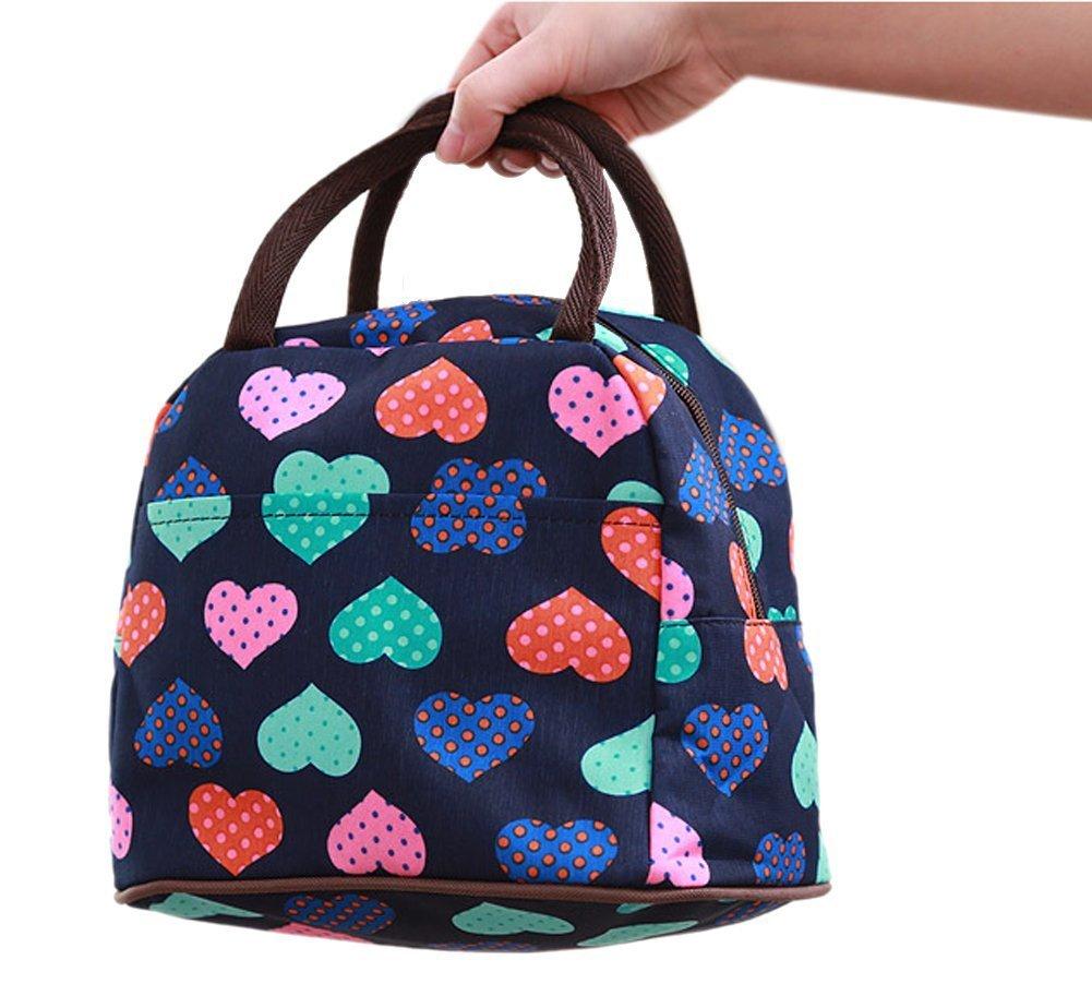 hugestore Carino Cuore modello Lunch Box Borsa Porta pranzo borsa termica picnic bag borsa porta pranzo per Viaggi e Picnic Beige