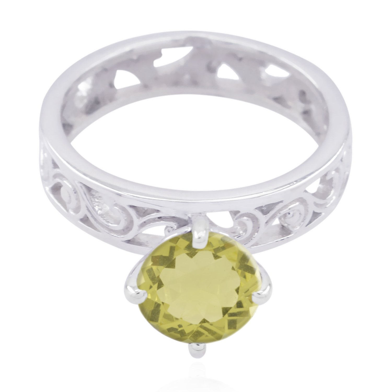 Greatest Jewellery Highest Item Gift for Grandmother top Ring Natural Gemstone Round Faceted Lemon Quartz Rings 925 Sterling Silver Yellow Lemon Quartz Natural Gemstone Ring