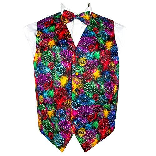 Vittorio Farina Mardi Gras Style, Vibrant colorful Fireworks Print Vest & Bow Tie (Mardi Gras Style Clothes)