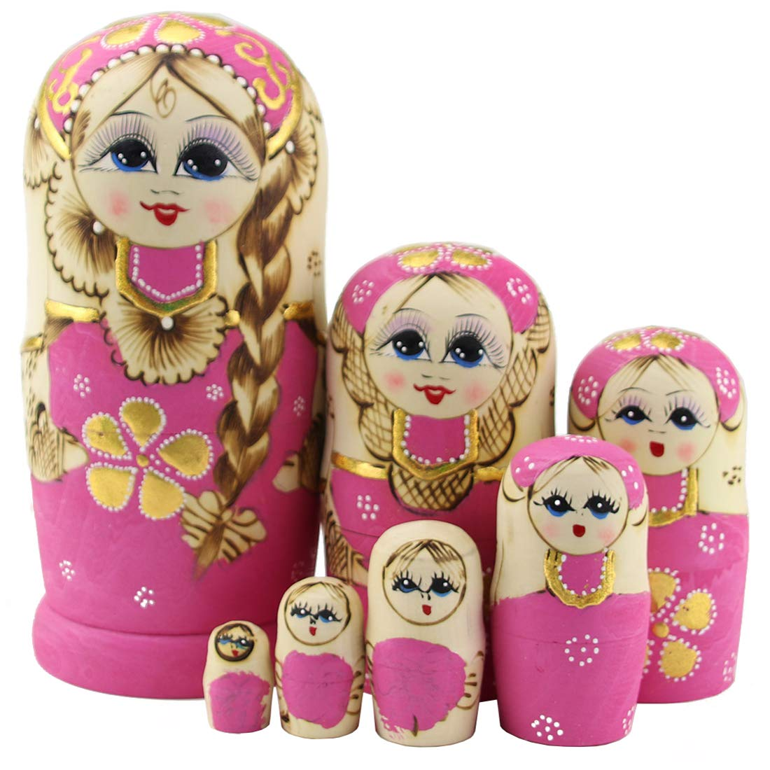 Moonmo 7pcs Cute Pink Sweater Braid Girl Russian Nesting Dolls Matryoshka Toys by Moonmo