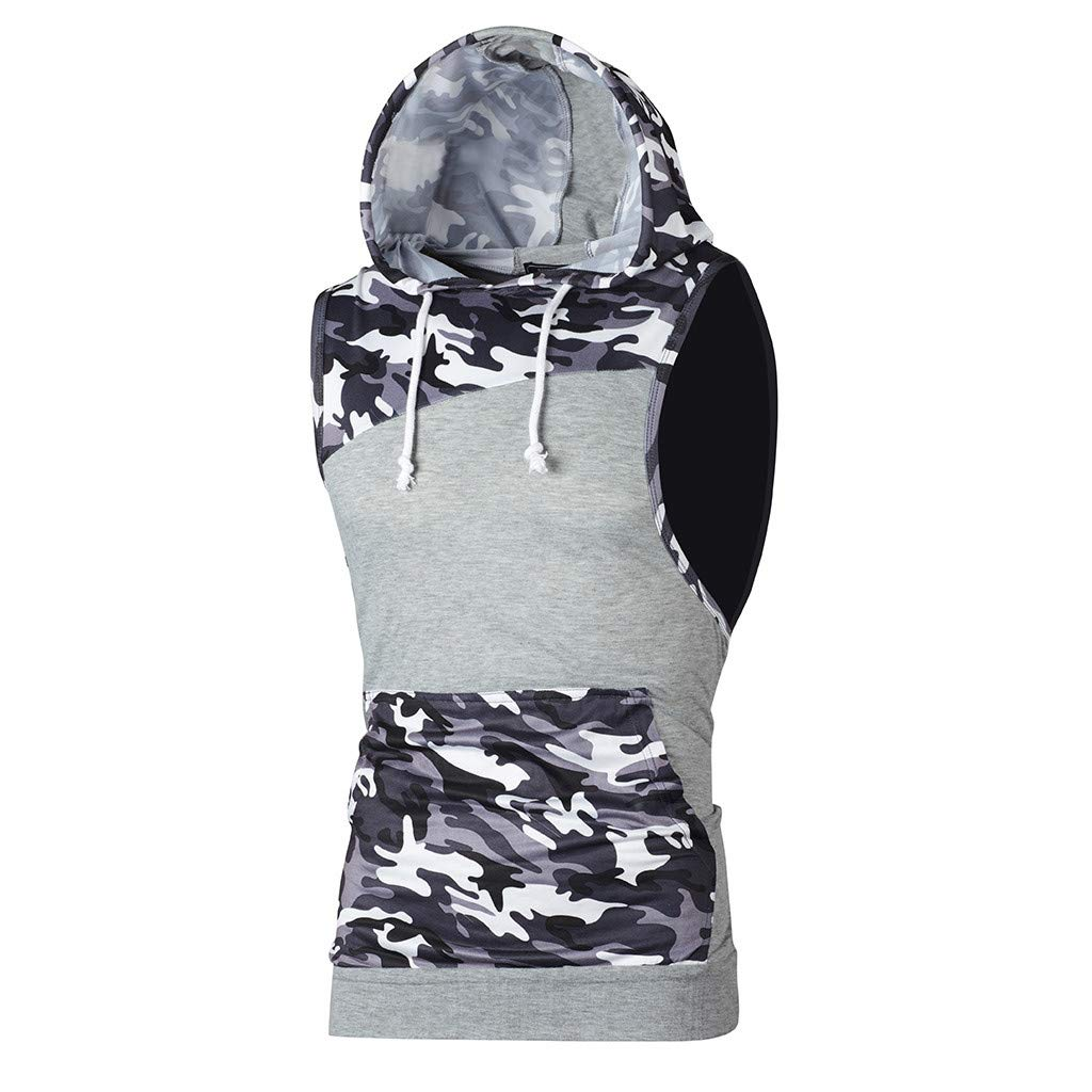 Men's Tanks Tops Camouflage Patchwork Tees Sleeveless Hooded Vest T Shirt (L, Gray)