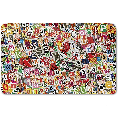 Memory Foam Bath Mat,Old Newspaper Decor,Various Kinds of Newpaper Magazine Letters Cutouts Alphabet Collection DecorativePlush Wanderlust Bathroom Decor Mat Rug Carpet with Anti-Slip Backing,Multico (Personalized Magazine Covers)