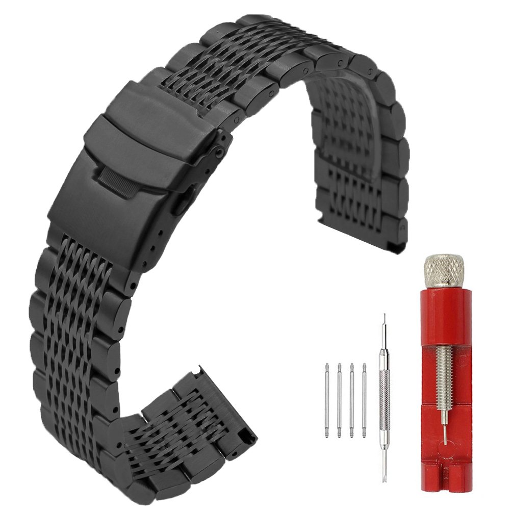 22mm Premium Stainless Steel Watch Band with Double Lock Buckles Push Button Deployment Clasp Metal Mesh Bracelet for Men Women Black