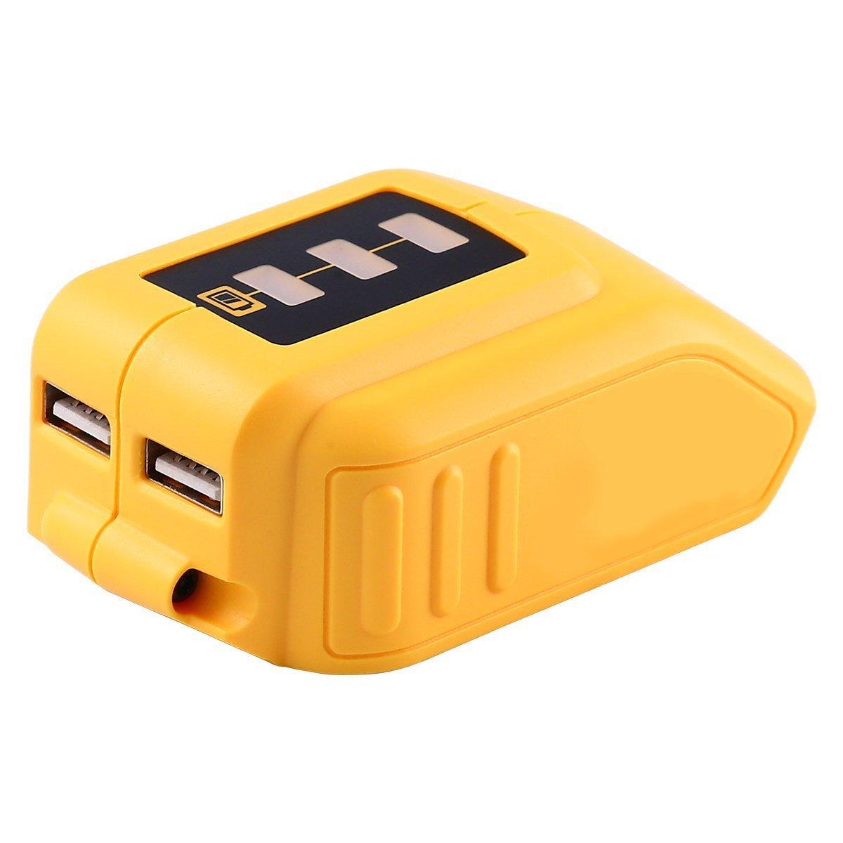 Reoben Akku-Adapter mit USB Anschluss DCB090 fü r Dewalt 10, 8V / 14, 4V / 18V Lithium-Ionen-Akku