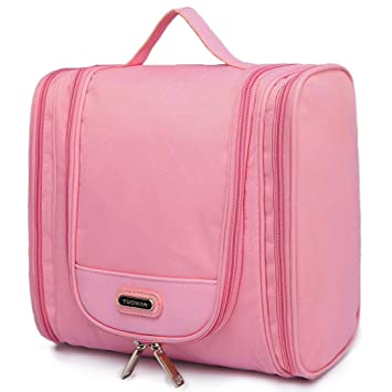 d79dc9480788 Hanging Toiletry Bag Portable Travel Organizer Makeup Cosmetic for Women  Men (2 Side Pockets Pink)
