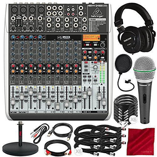 Behringer XENYX QX1622USB -16-Input USB Audio Mixer with Effects with Tascam TH-MX2 Mixing Headphones, Samson Microphone, Cables and Platinum Audio Bundle