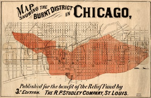 MAP of CHICAGO Burnt District (Great Fire) circa 1871 - measures 24
