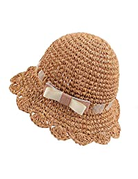 JANGANNSA Summer Girls Straw Hat Baby Toddler Girls Floppy Hat Bowknot Sun Beach Cap