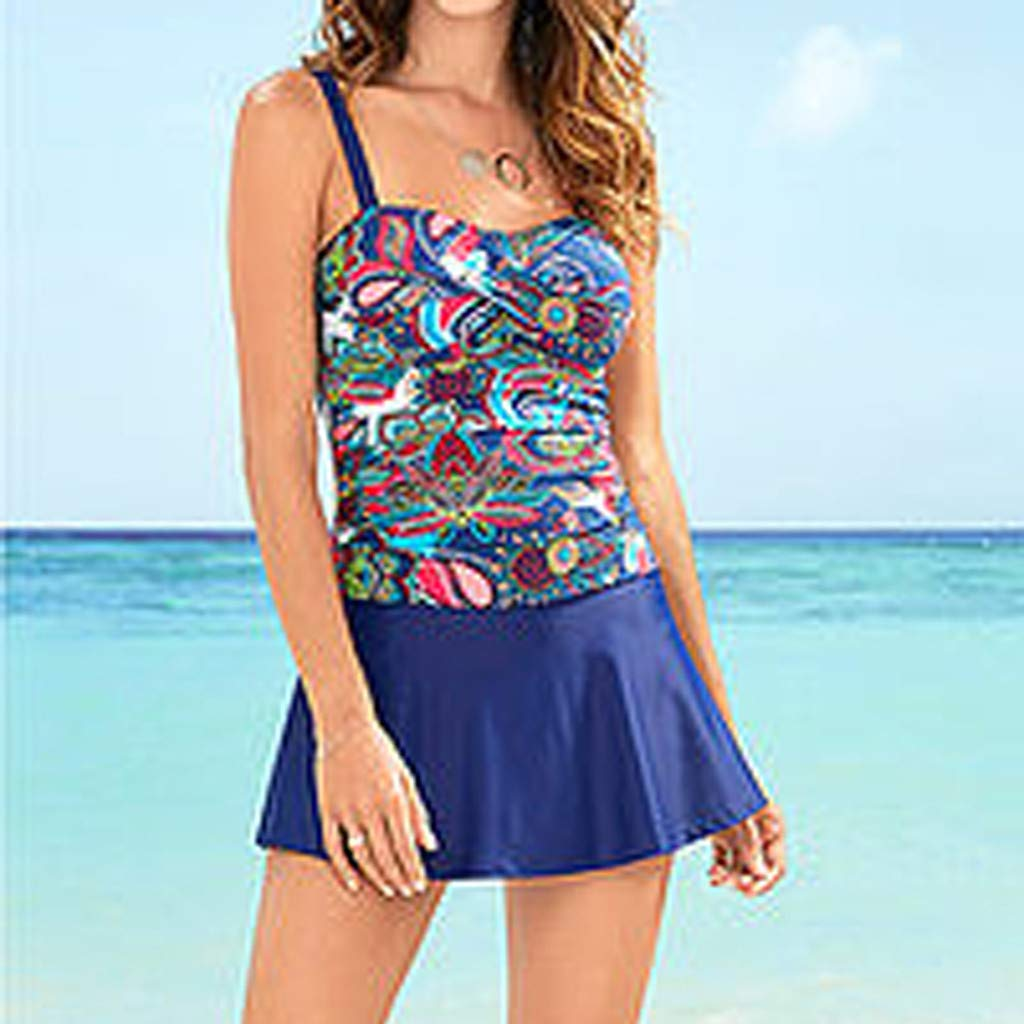 Frauen Sport Training Badeanzug Bademode Frauen Plus Size Vintage Print Tankini Bikini Bademode Swim Push-Up Badeanzug