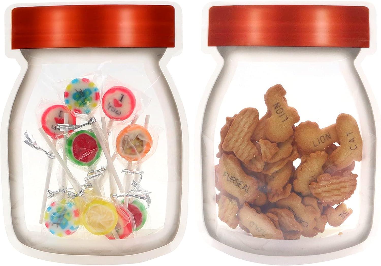 48 pcs Mason Jar Zipper Bags,Reusable Ziplock Snack Candy Bag,4.7