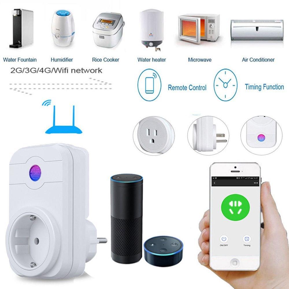 TOOGOO Interruptor del temporizador de control remoto App Alexa salida Wifi Inteligente Enchufe de casa con clavija de UE: Amazon.es: Bricolaje y ...
