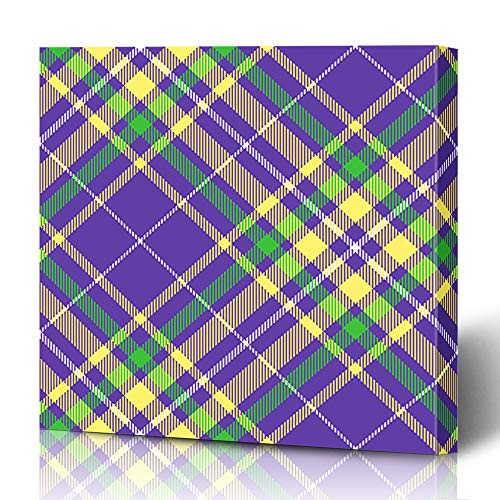 Ahawoso Canvas Prints Wall Art 16x16 Inches Necktie Purple Border Plaid Pattern Mardi Gras Green Stole Gold Abstract Yellow Bright Carnival Check Decor for Living Room Office Bedroom ()