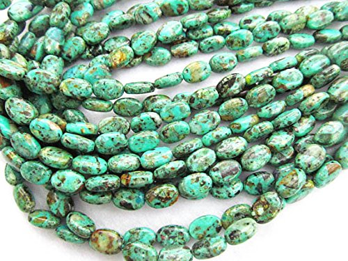 8X12mm Natural African Turquoise Gemstone Green Brown Black oval egg Turquoise Beads charm jewelry - Oval Turquoise Charm