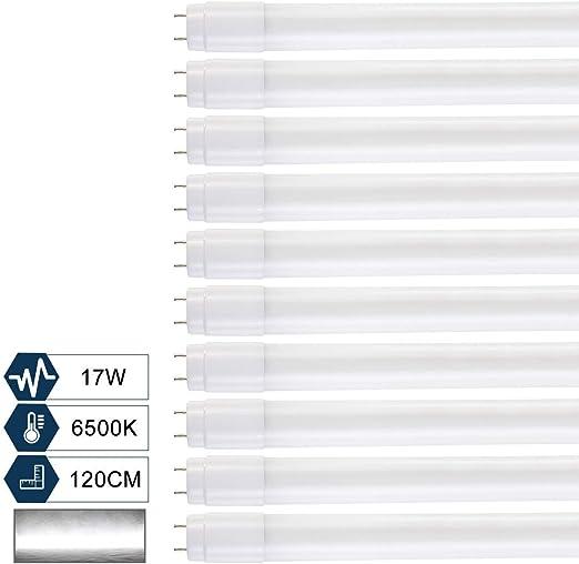 [10er PACK] SBARTAR LED Tube Fluorescente 120cm, T8 G13 abat jour Nano Plastique 1960lm 17w, Blanc Froid 6500k inclus Starter