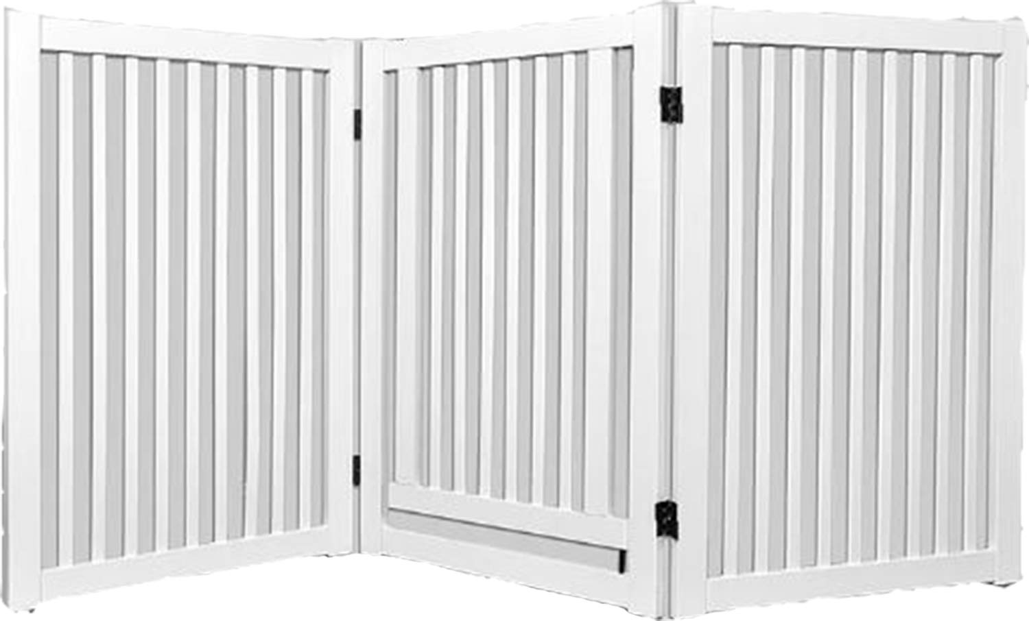 White Wood Freestanding Pet Gate. Griffin Wood Freestanding Pet Gate with Small Door Hinged Door Gate Stabilizing Support Feet Folding Design (White)